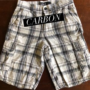 Carbon, 28, black and white, plaid, cargo shorts